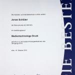Die Ehrenurkunde von Jonas Schlüter als Jahrgangsbester Medientechnologe Druck in 2014
