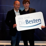 Wir sind die Besten: Druckereileiter und Ausbilder Thomas Winkmann (links) und Jahrgangsbester-Azubi Jonas Schlüter (rechts)