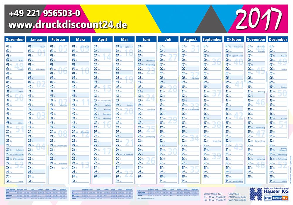 G nstig kalender planer drucken bei druckerei h user kg for Wand jahresplaner 2017