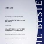 Die Urkunde der Druckerei Häuser KG für herausragende Leistungen in der Berufsausbildung in 2014