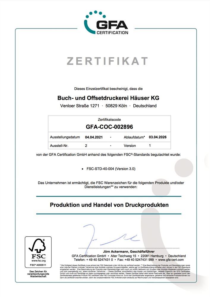FSC Zertifikat 2026